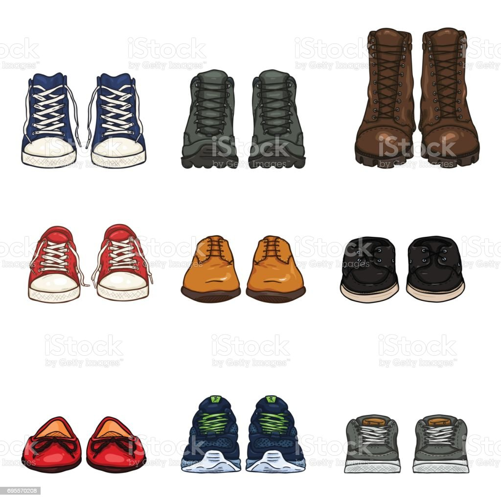 Vector Set of Cartoon Color Shoes Items vector art illustration