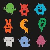 vector set of cartoon cute monsters