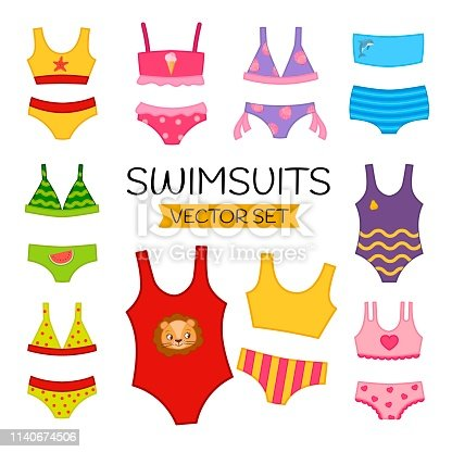 Vector set of cartoon different swimsuits.