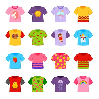 Vector set of cartoon different t-shirts.