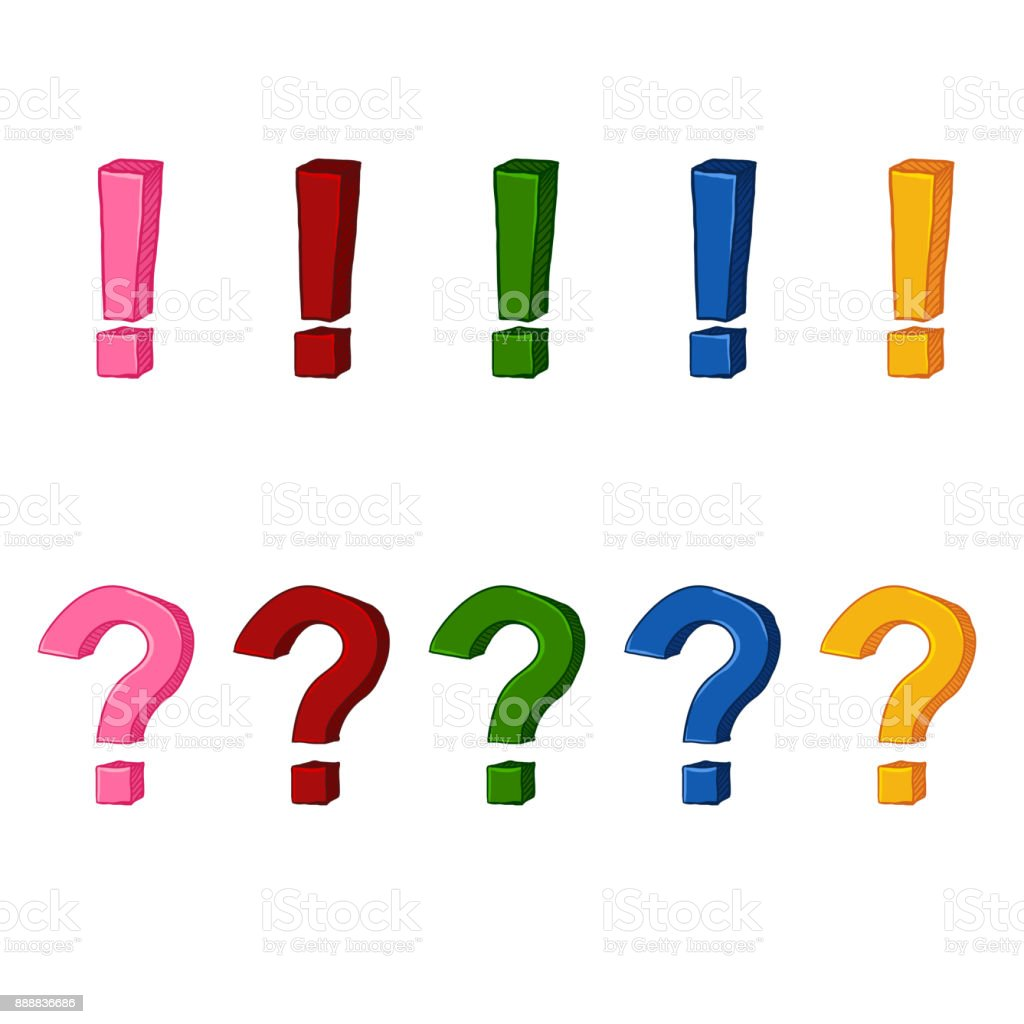 vector set of cartoon exclamation and question marks stock vector