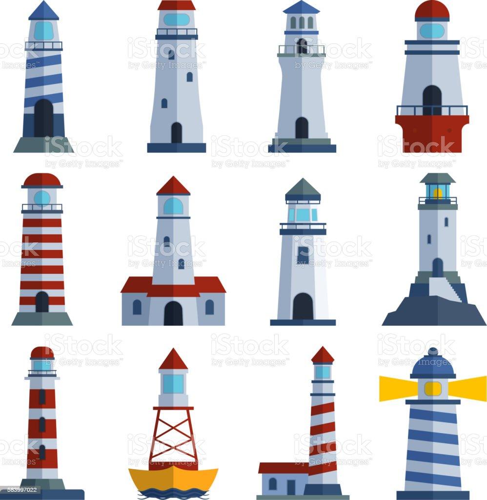 Vector set of cartoon flat lighthouses. vector art illustration