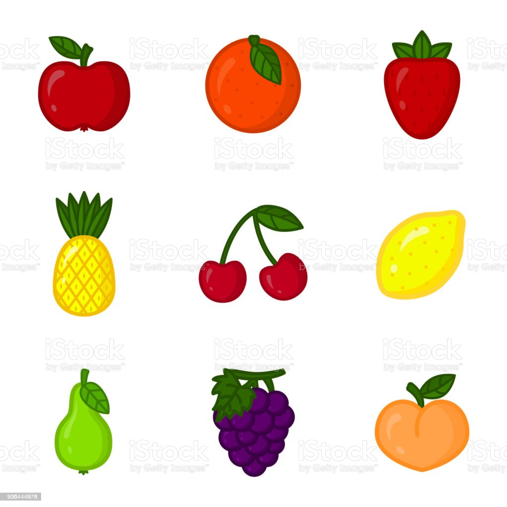 vector set of cartoon fruit icons apple orange strawberry pineapple rh istockphoto com fruit basket vectors fruit vectors free download