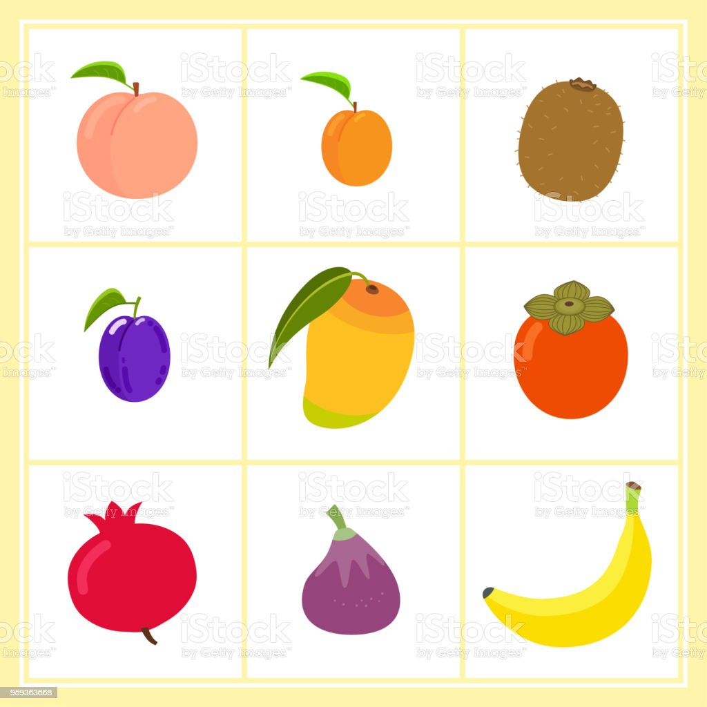 Vector set of cartoon fruits isolated on white background vector art illustration