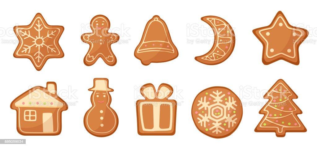 Imagenes De Galletas De Navidad Animadas.Ilustracion De Vector Conjunto De Galletas De Navidad De Pan