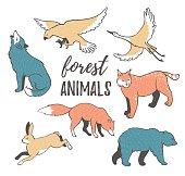 Vector set of cartoon hand drawn wild forest animals.