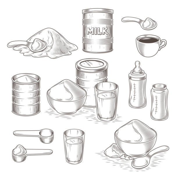 Vector set of cartoon illustration of milk powder Vector set of engraving illustration of milk powder in an aluminum can and poured into a bowl, a glass with prepared instant milk, baby bottle and the addition of milk powder into a cup of tea, coffee handful stock illustrations