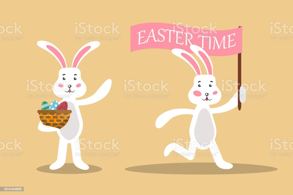Vector Set Of Cartoon Isolated Easter Bunny For Decoration