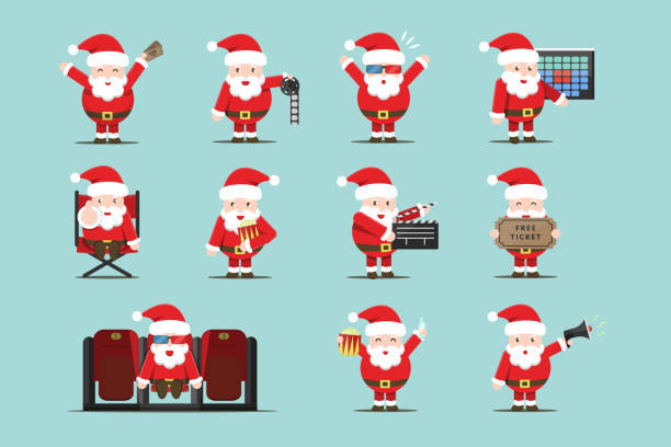 illustrazioni stock, clip art, cartoni animati e icone di tendenza di vector set of cartoon isolated santa claus character in different poses with cinema equipment for decoration and covering. concept of cinema, movie production and director profession. - christmas movie