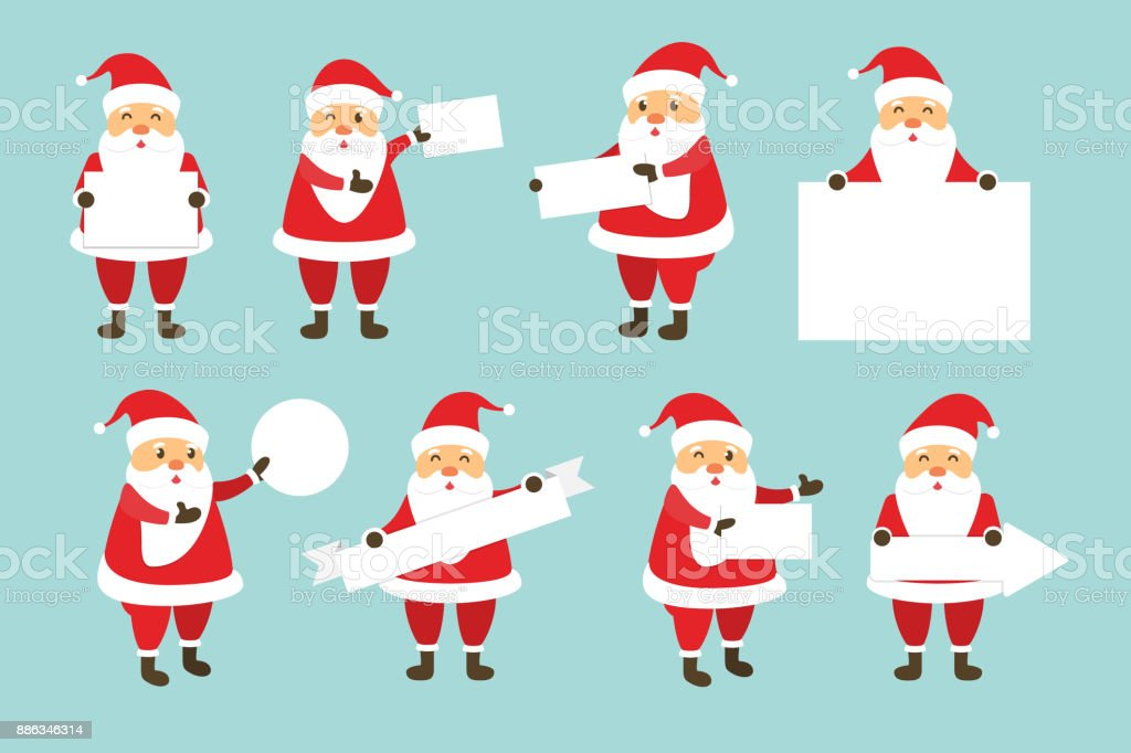Vector Set Of Cartoon Isolated Santa Claus Character With Blank