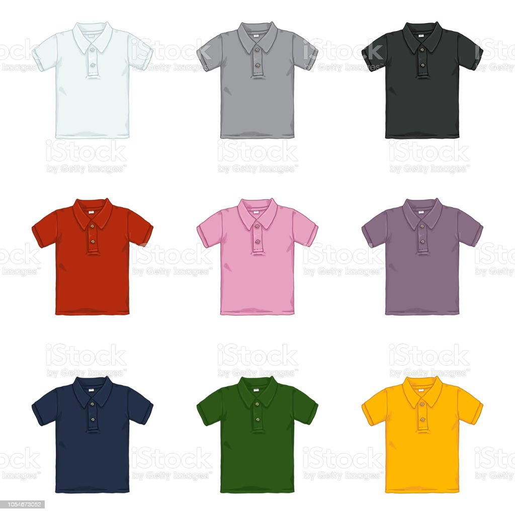 cb9144dd9 Vector Set of Cartoon Polo Shirts. Color Variations. royalty-free vector  set of
