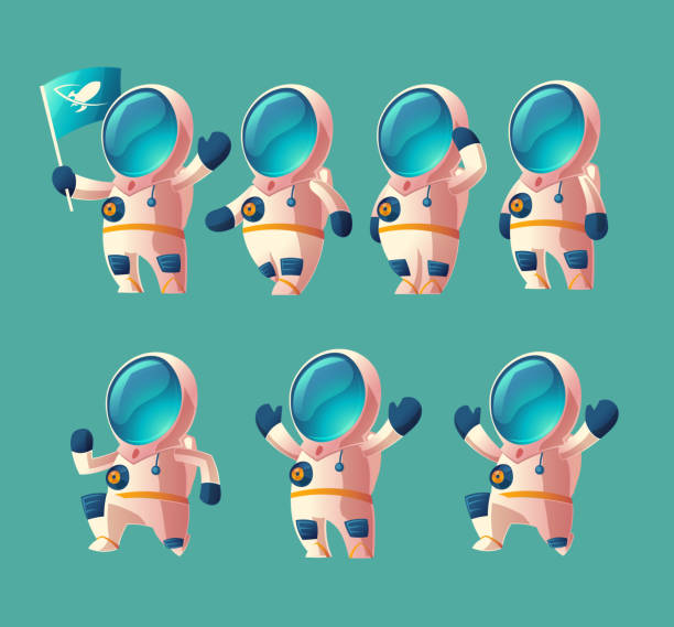 Vector set of cartoon spaceman, moving cosmonaut Vector set of cartoon spaceman kid, moving cosmonaut in spacesuit, child in helmet isolated on blue background. Futuristic clothing for exploration of cosmos, galaxy, space. astronaut floating in space stock illustrations