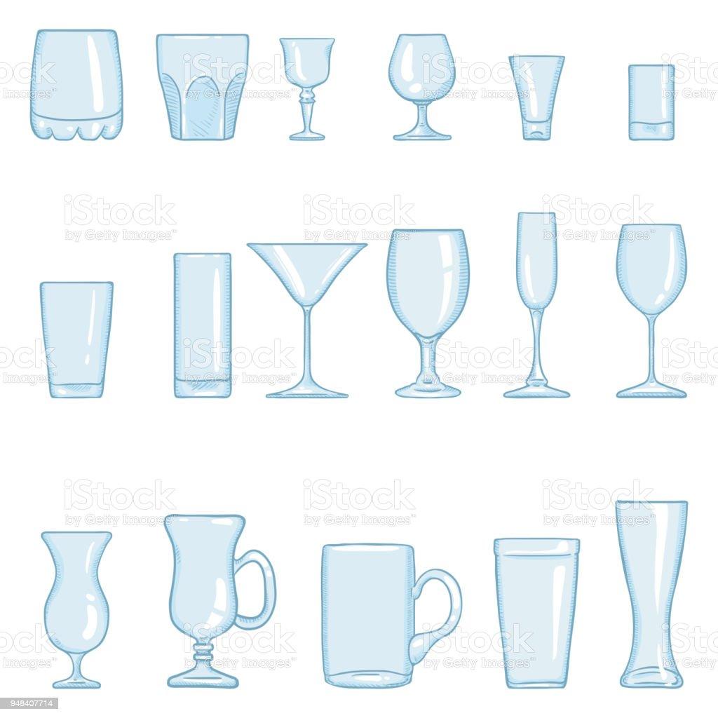 Vector Set of Cartoon Stemware. Glasses for Alcohol and Soft Drink vector art illustration