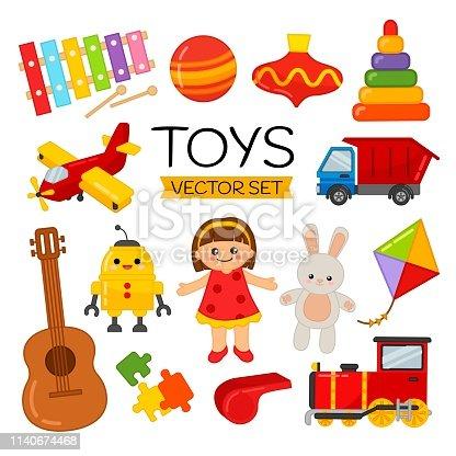 Vector set of cartoon toys for children.