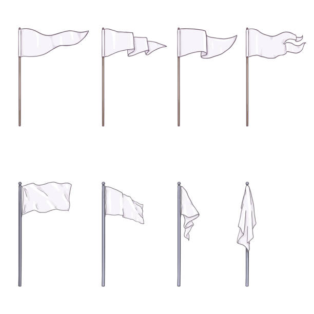 Vector Set of Cartoon White Flags on Wooden and Steel Flagpoles Vector Set of Cartoon White Color Flags on Wooden and Steel Flagpoles flagpole stock illustrations