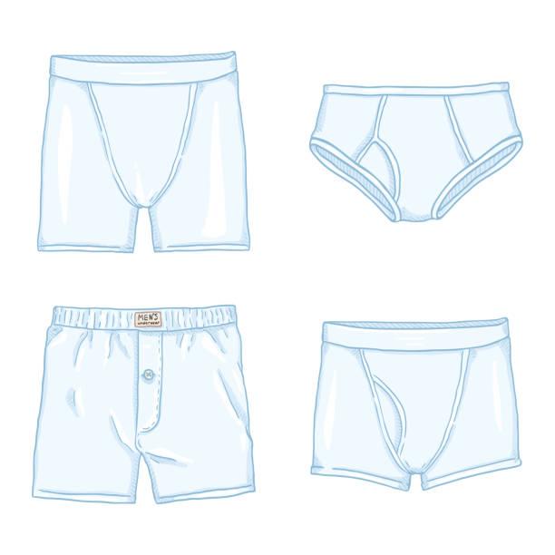 e0bb75e313bf Vector Set of Cartoon White Mens Pants. Male Underwear. vector art  illustration