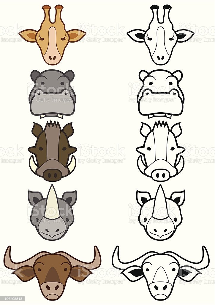 Vector set of cartoon wild or zoo animals. vector art illustration