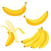Vector Set of Cartoon Yellow Bananas.