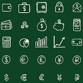 Vector Set Of Chalk Doodle Finance Icons