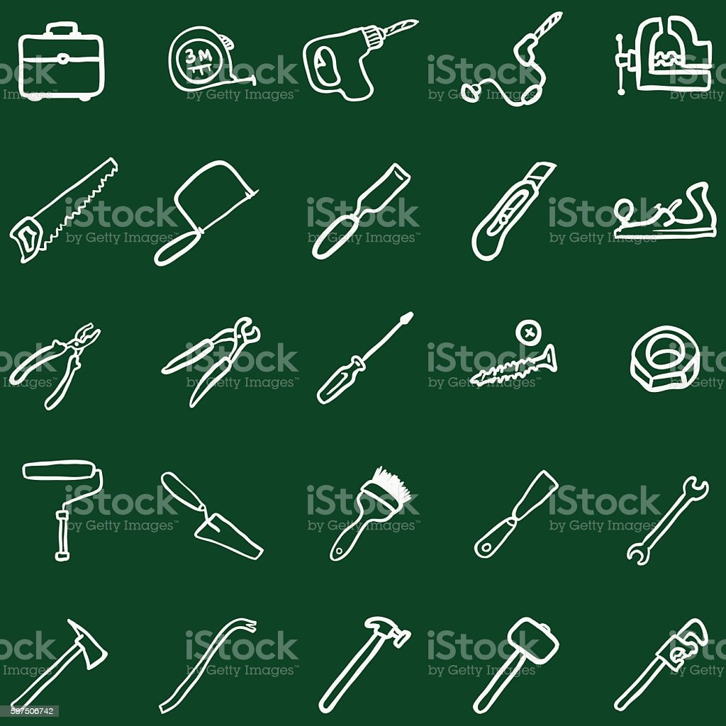 Vector Set of Chalk Doodle Work Tools Icons vector art illustration