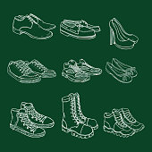 Vector Set of Chalk Sketch Shoes Items. Side View.