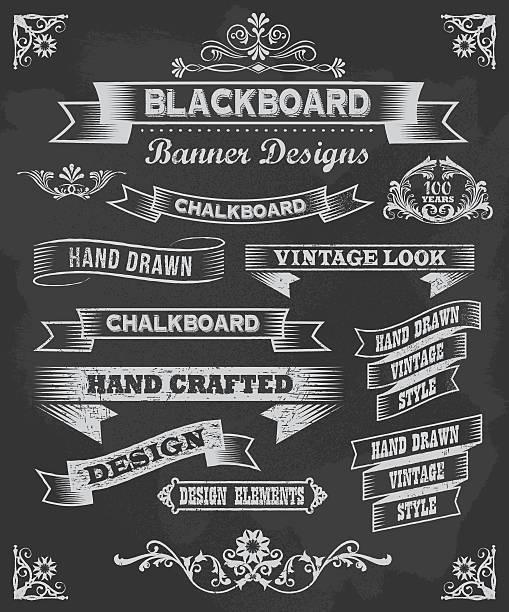 Vector set of chalkboard banner design icons vector art illustration