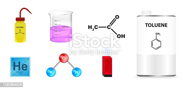 Vector chemistry illustrated set. Icons isolated on a white background. Icons suitable for science and research or for the education of school children.