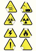 Vector set of chemical warning signs on stickers.