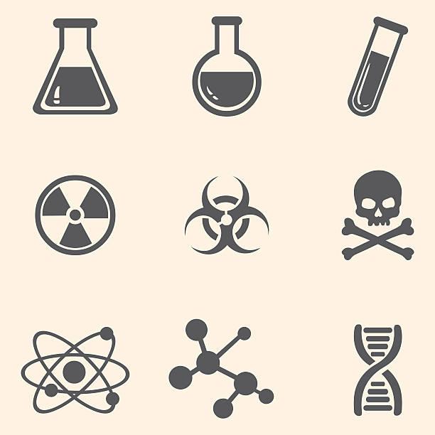 Vector Set of Chemistry Icons. Vector Set of Chemistry Icons. beaker stock illustrations
