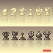 Vector set of chess pieces.