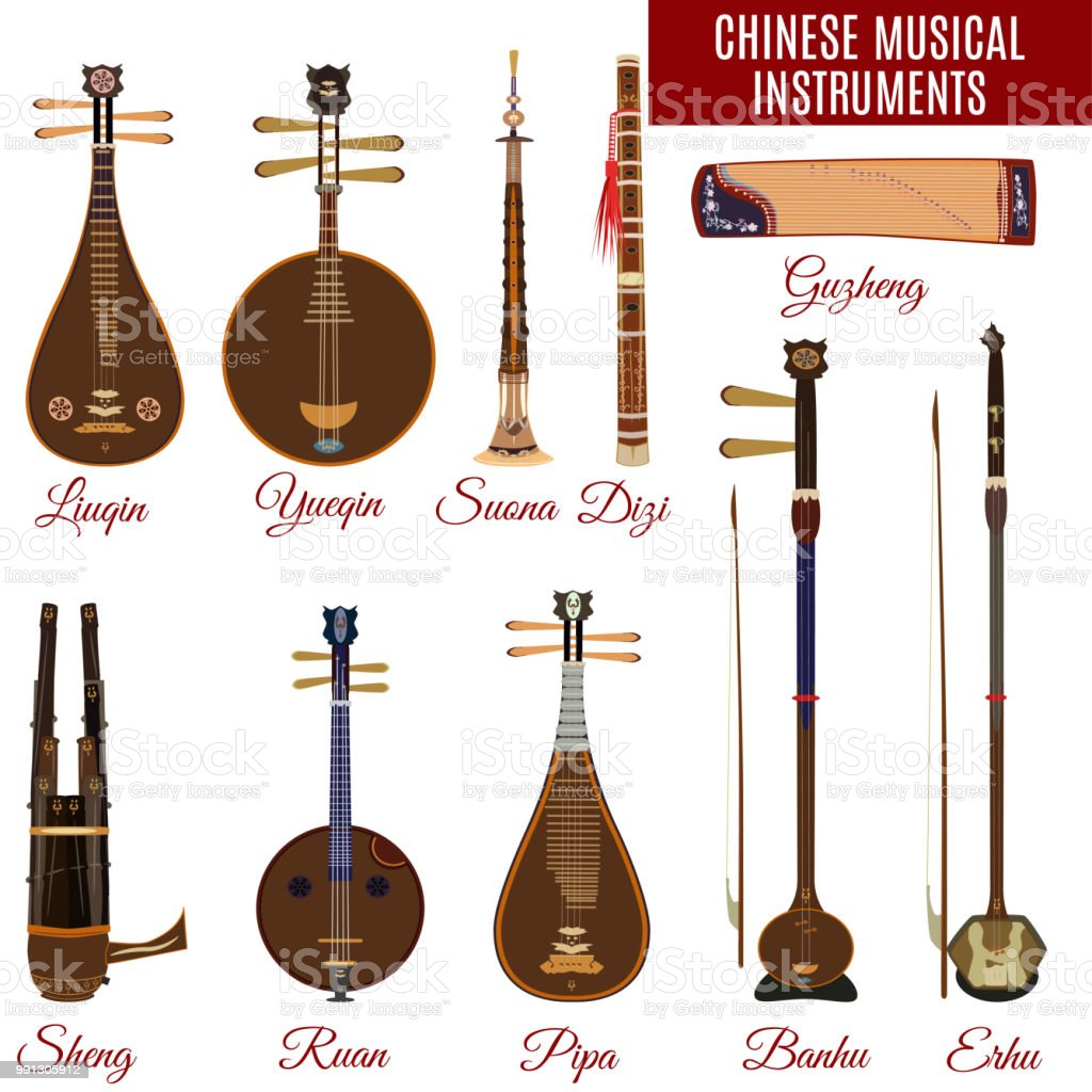 vector set of chinese musical instruments stock vector art & more