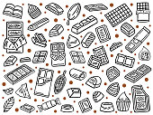 hand drawn chocolate doodle set, vector background,
