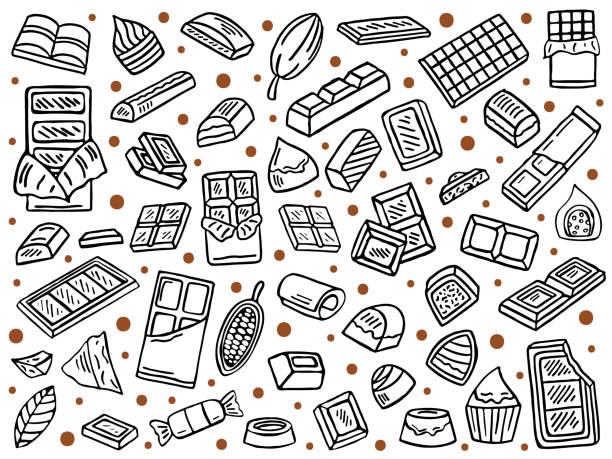 vector set of chocolate hand drawn chocolate doodle set, vector background, caramel stock illustrations