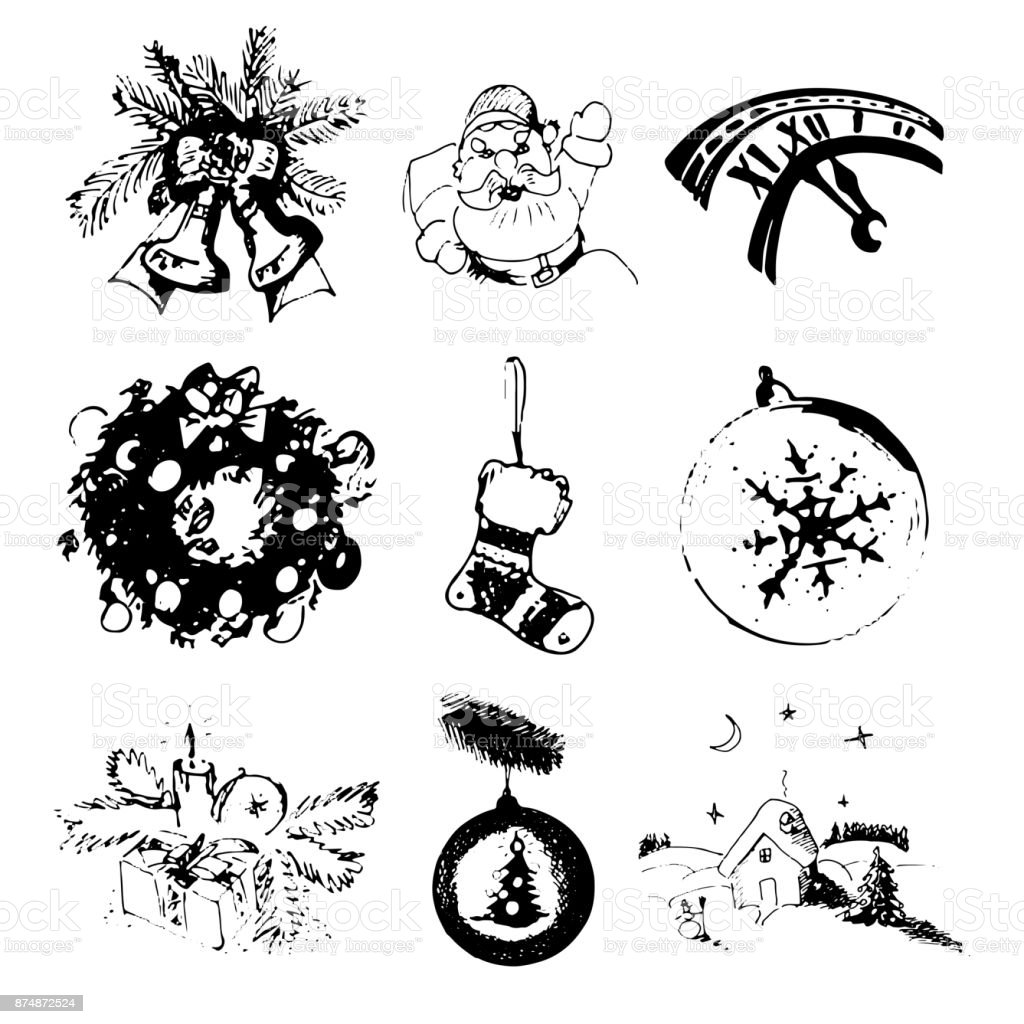 Vector set of Christmas and New Year hand drawn images with sock, toys, bells, Santa Claus, gift, watch, wreath. vector art illustration