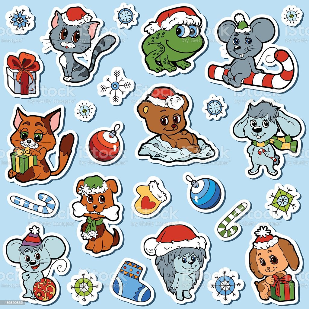 Vector Set Of Christmas Cute Animals Color Cartoon Collection Stock ...
