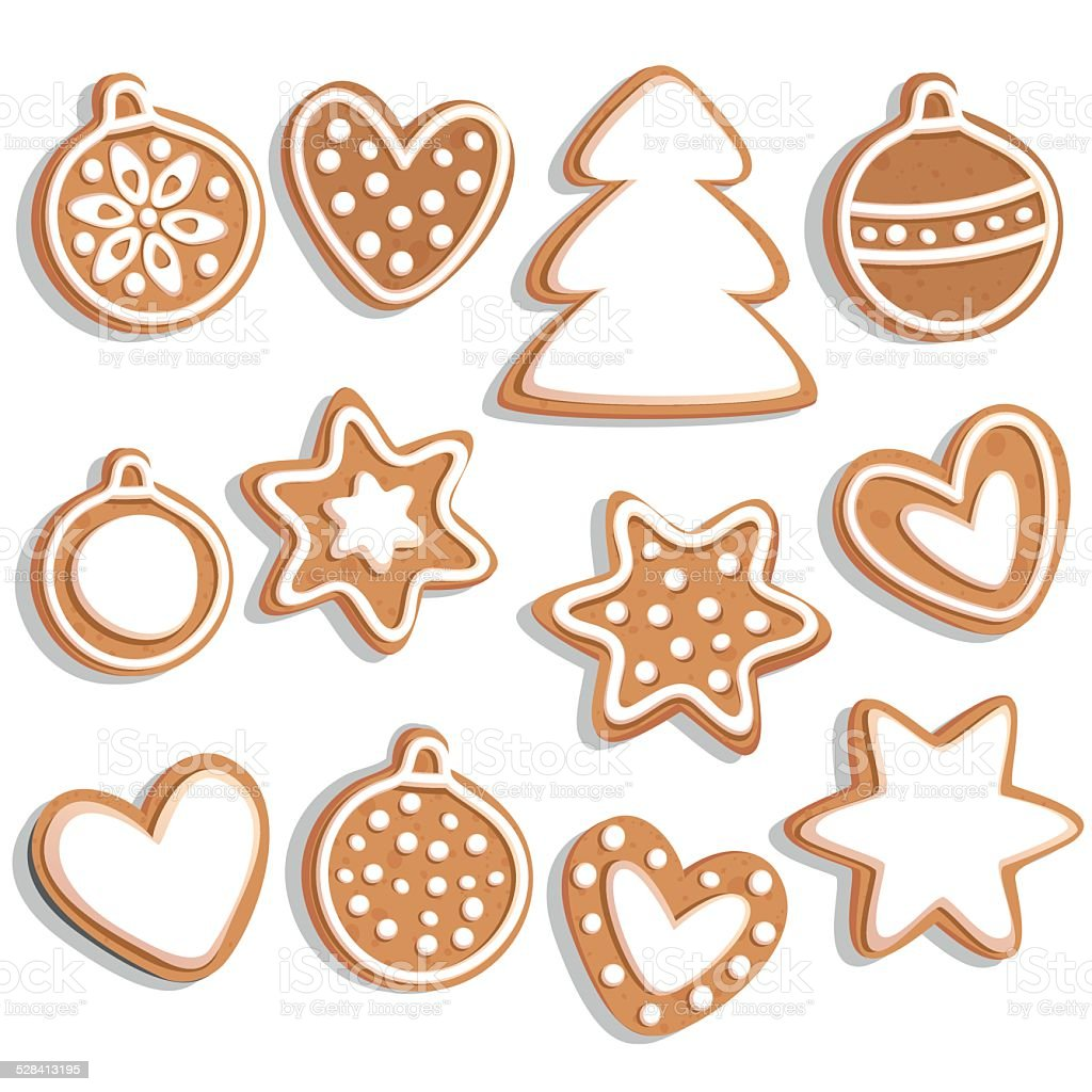 Vector set of Christmas gingerbread. vector art illustration