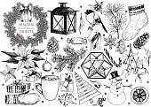 Vector set of Christmas hand drawn icons. Xmas engraved objects. Fir branch wreath, lantern, poinsettia, mistletoe, gingerbread cookies, cones, snowman, coca cup, candy, gloves gift boxes ball