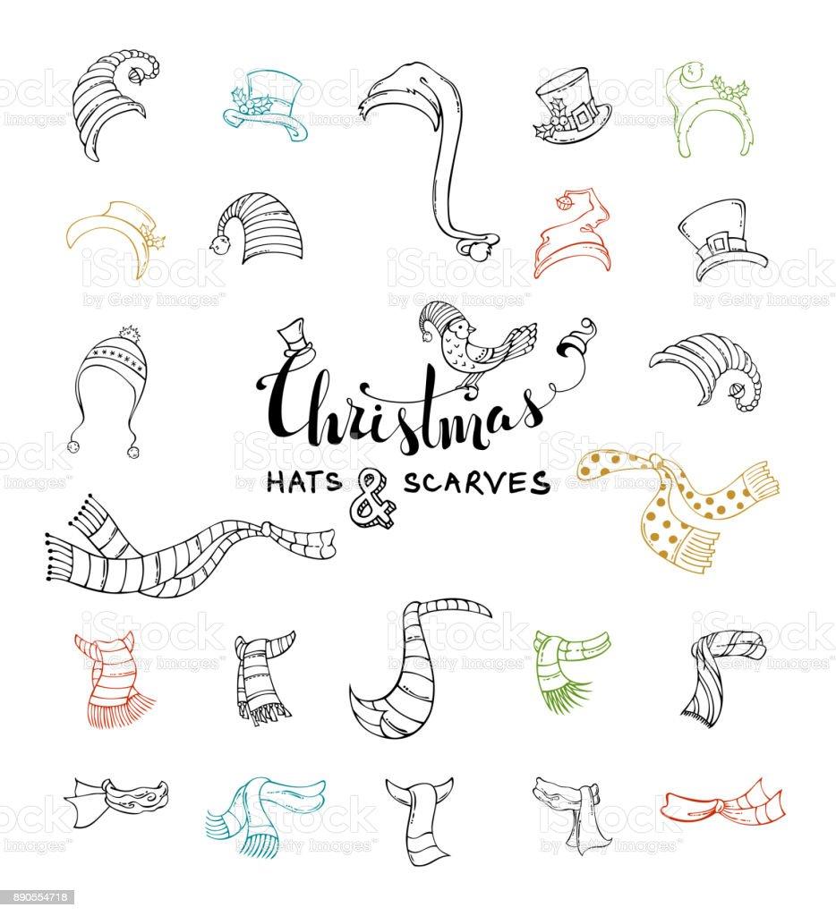 039a5c1d7 Conjunto de vectores de Navidad sombreros y bufandas. ilustración de  conjunto de vectores de navidad