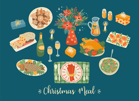 Vector set of Christmas meal. Design elements.