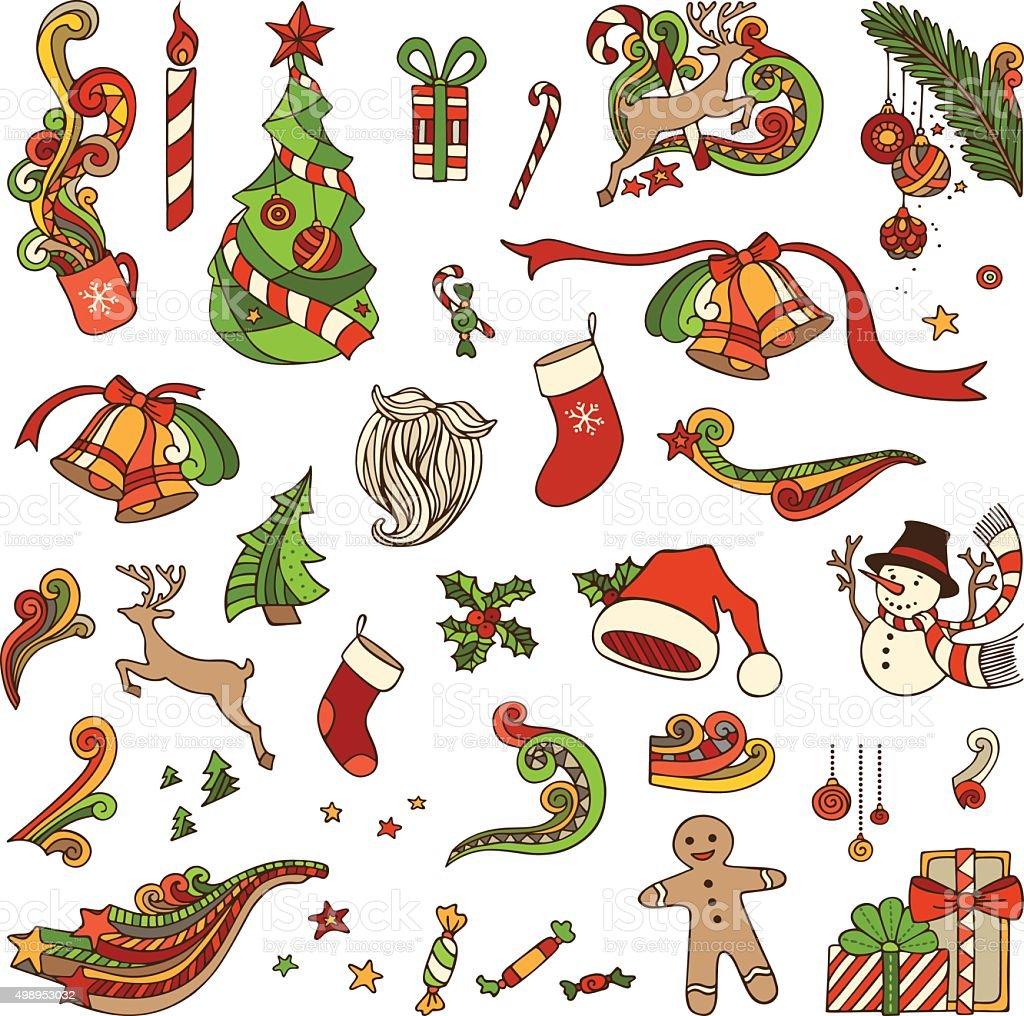 Vector set of Christmas objects. vector art illustration