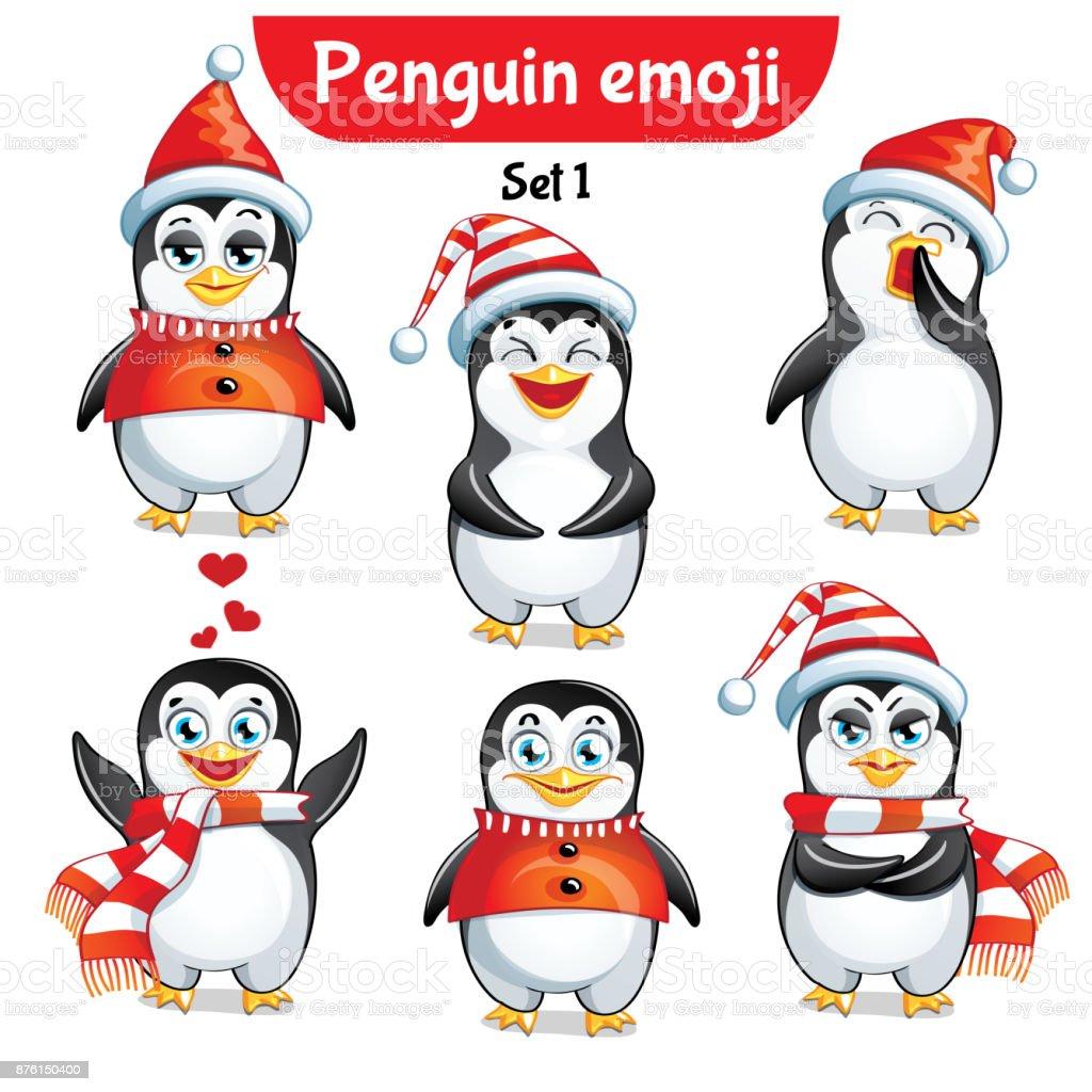 Vector set of christmas penguin characters. Set 1 vector art illustration