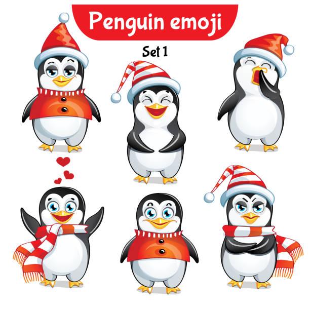 ilustraciones, imágenes clip art, dibujos animados e iconos de stock de vector conjunto de caracteres de pingüino de navidad. set 1 - emoji celoso