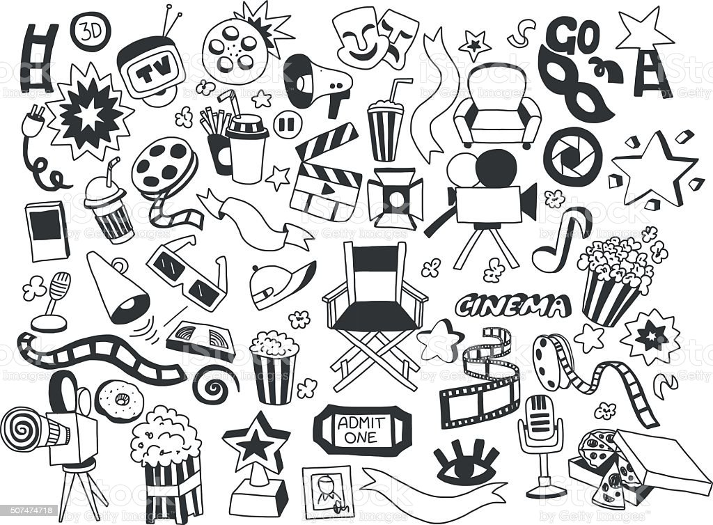 Vector set of cinema icons Hand drawn images vector art illustration
