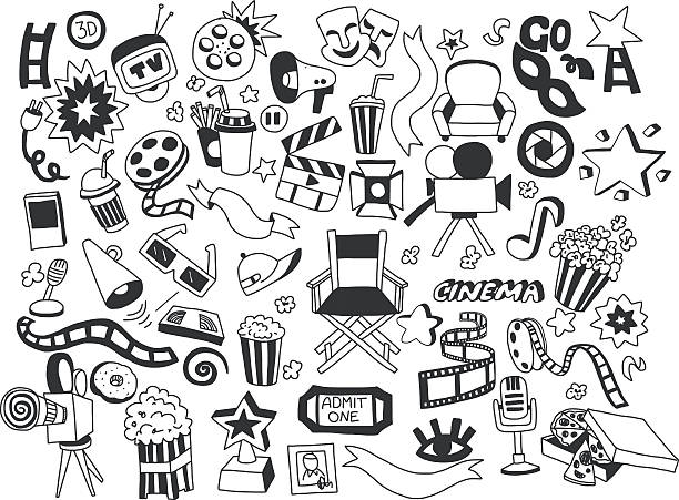 Vector set of cinema icons Hand drawn images Vector set of  cinema icons Hand drawn elements nightlife stock illustrations