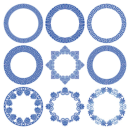 Vector set of circle blue frames in traditional and modern greek style