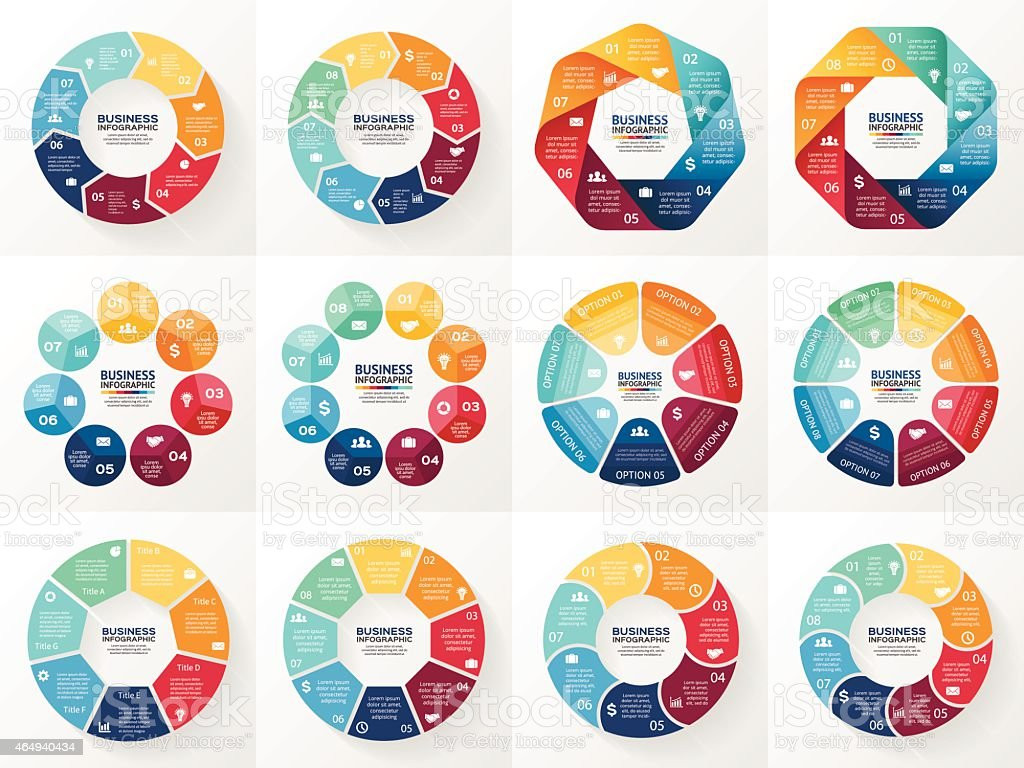 Vector set of circle diagrams and infographics vector art illustration