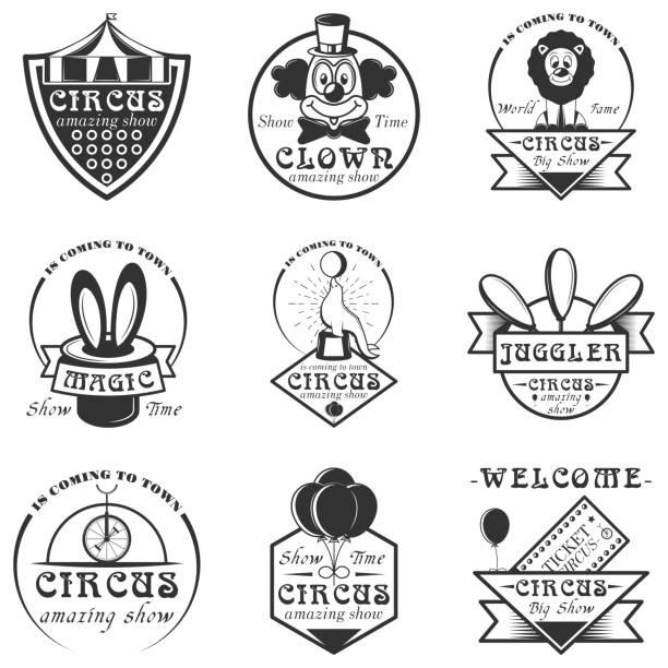 vektor-set zirkus isoliert etiketten und embleme. schwarz / weiß-zirkus-symbole und design-elemente - kaninchenbau stock-grafiken, -clipart, -cartoons und -symbole