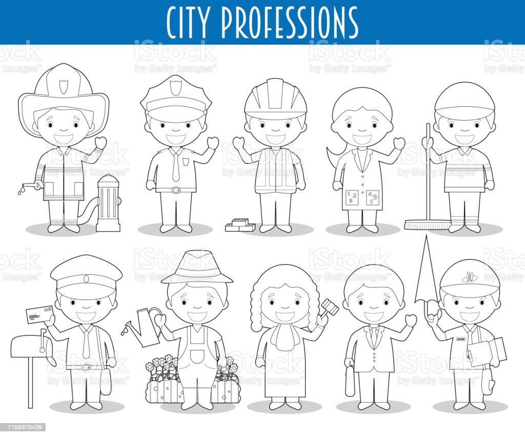 Vetores De Jogo Do Vetor De Profissoes Da Cidade Para Colorir No