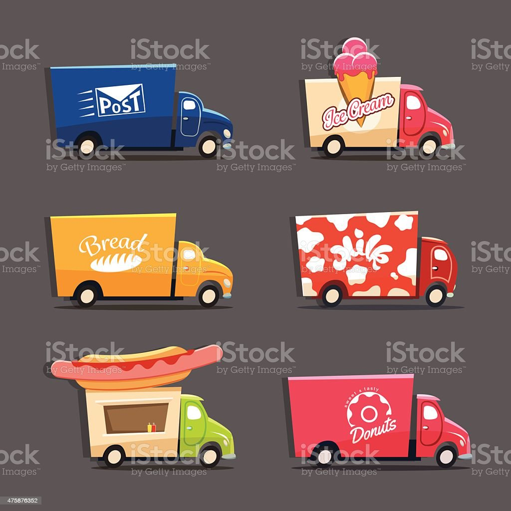 Vector set of city trucks ice cream and donut truck vector art illustration