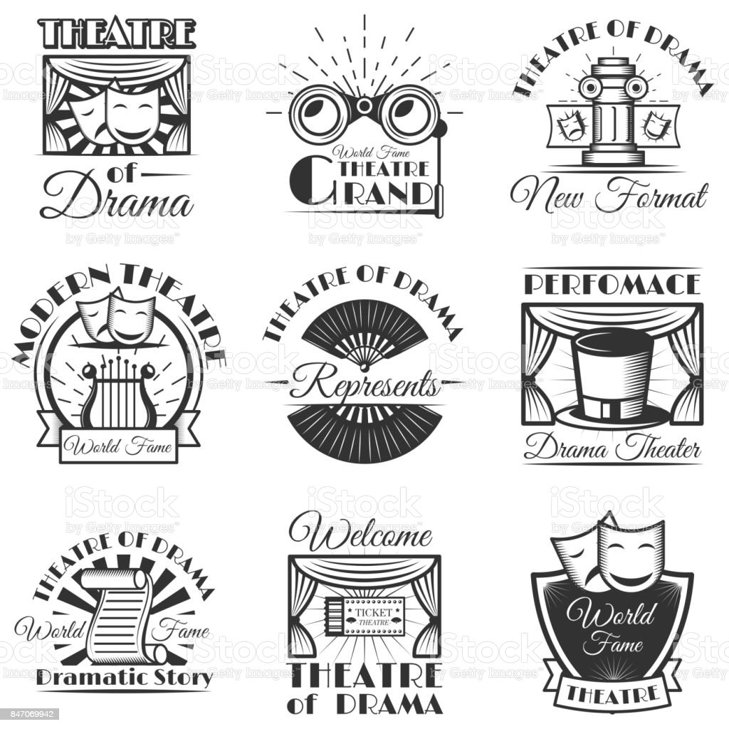 Vector set of classic theater isolated labels,  and emblems. Black and white theater symbols and design elements vector art illustration